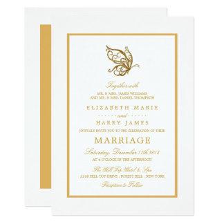 Cartão Casamento da borboleta do brilho do ouro do