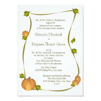 Cartão Casamento da colheita da abóbora da queda