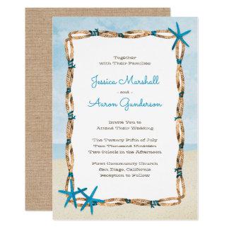 Cartão Casamento da estrela do mar do Aqua e de praia da