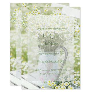 Cartão Casamento da flor da camomila das margaridas de
