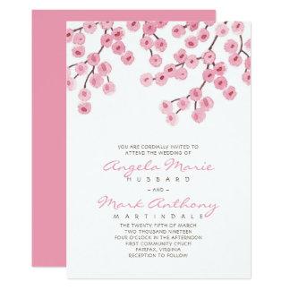 Cartão Casamento da flor de cerejeira da aguarela