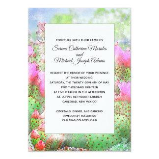 Cartão Casamento da flor do cacto da aguarela