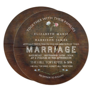 Cartão Casamento da madeira de carvalho do Wildflower