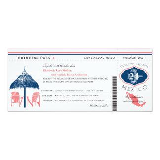 Cartão Casamento da passagem de embarque de México