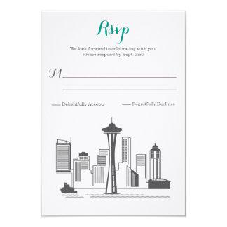 Cartão Casamento da skyline de RSVP Seattle