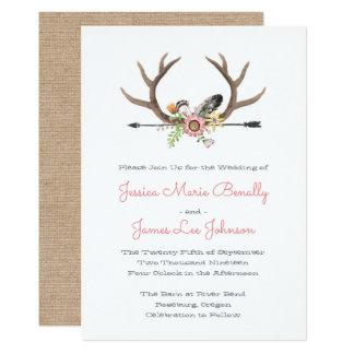 Cartão Casamento das penas e da seta do Wildflower