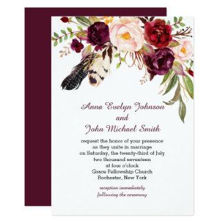 Cartão Casamento de Boho das penas dos rosas brancos de