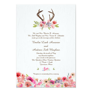 Cartão Casamento de Bois do falso dos Wildflowers dos