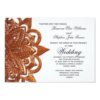 Cartão Casamento de cobre do medalhão do olhar do metal