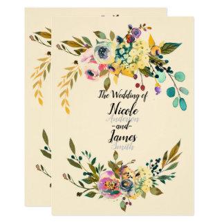 Cartão Casamento de creme das folhas florais botânicas do