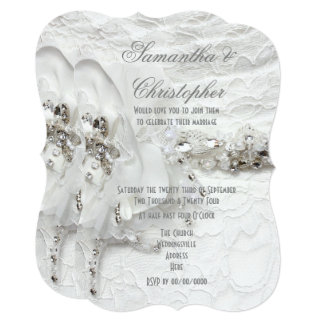 Cartão Casamento de cristal branco do vestido das noivas