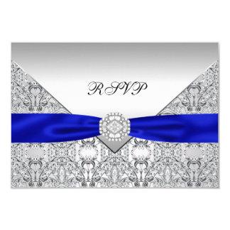 Cartão Casamento de diamante de prata RSVP dos azuis
