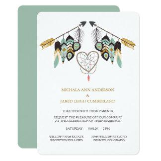 Cartão Casamento de Dreamcatcher da seta da pena da