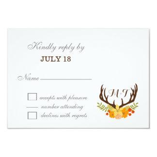 Cartão Casamento de florescência do Antler dos cervos