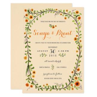 Cartão Casamento de florescência roxo amarelo da videira