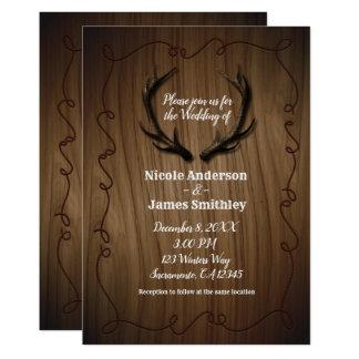 Cartão Casamento de madeira do celeiro do país rústico