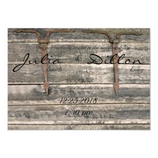 Cartão Casamento de madeira resistido