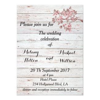 Cartão Casamento de madeira rústico da árvore de cereja