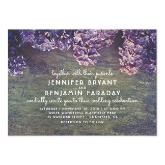 Cartão Casamento de madeira rústico de florescência dos