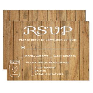 Cartão Casamento de madeira rústico do país de Brown do