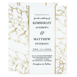 Cartão Casamento de mármore elegante branco do ouro