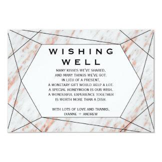 Cartão Casamento de mármore geométrico do ouro
