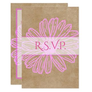 Cartão Casamento de papel envelhecido rosa RSVP