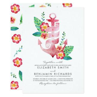 Cartão Casamento de praia náutico do vintage floral