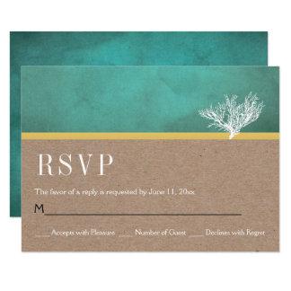 Cartão Casamento de praia RSVP da cerceta do recife de