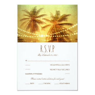 Cartão Casamento de praia tropical RSVP da luz da corda