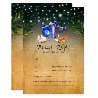 Cartão Casamento de praia tropical RSVP dos cocktail