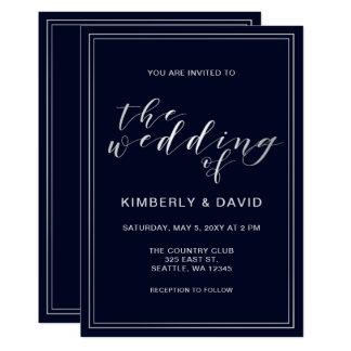 Cartão Casamento de prata do marinho clássico