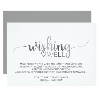 Cartão Casamento de prata simples da caligrafia que