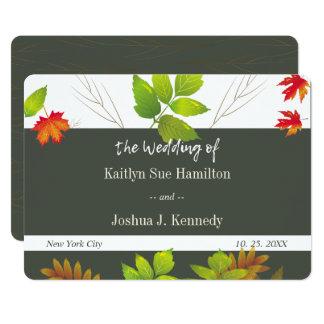Cartão Casamento de queda do carvalho do bordo das folhas