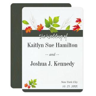 Cartão Casamento de queda do carvão vegetal do carvalho