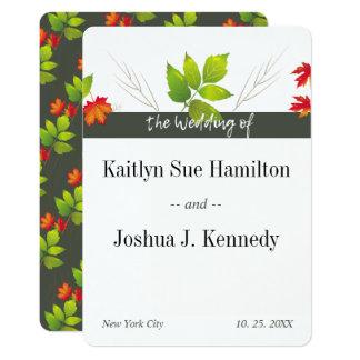 Cartão Casamento de queda do outono do carvão vegetal do