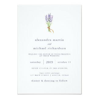 Cartão Casamento delicado da lavanda francesa