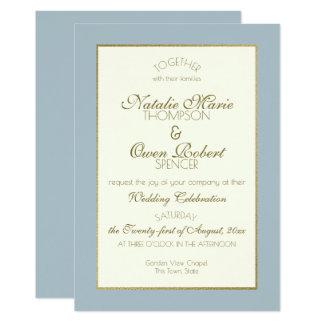 Cartão Casamento do azul de aço e do ouro