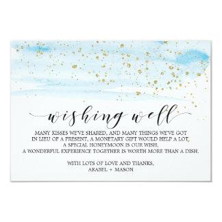 Cartão Casamento do azul e do ouro da aguarela que deseja
