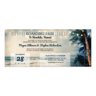 Cartão Casamento do bilhete da passagem de embarque do