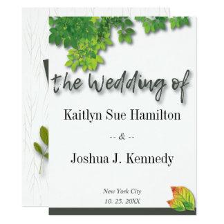 Cartão Casamento do carvalho do outono