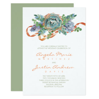 Cartão Casamento do conjunto do Succulent da aguarela