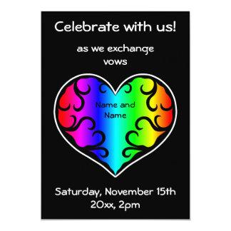 Cartão Casamento do coração do arco-íris