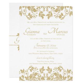 Cartão Casamento do emblema do damasco do ouro