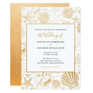 Cartão Casamento do escudo do mar da folha de ouro do