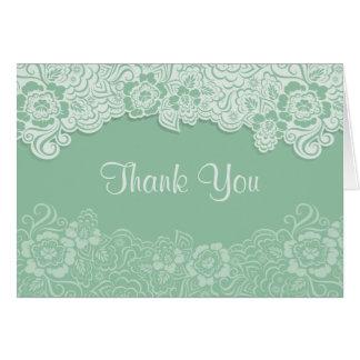 Cartão Casamento do laço da hortelã - obrigado