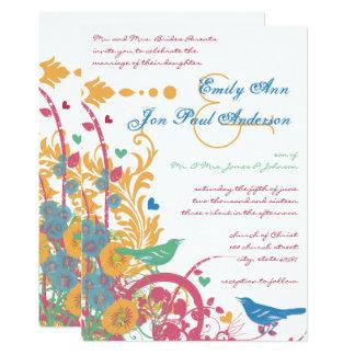 Cartão Casamento do Lovebird do verde da framboesa da