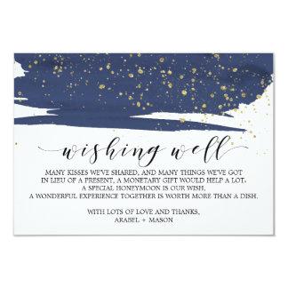 Cartão Casamento do marinho e do ouro da aguarela que
