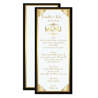 Cartão Casamento do menu, reunião do menu, grande Gatsby,