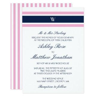 Cartão Casamento do monograma do rosa & dos azuis